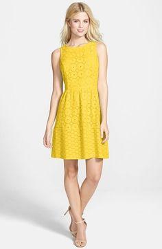 kensie Sleeveless Eyelet Cotton Fit & Flare Dress available at Fit Flare Dress, Fit And Flare, Yellow Fashion, Fabulous Dresses, Spring Dresses, Nordstrom Dresses, Cheap Dresses, Bridesmaid Dresses, Bridesmaids