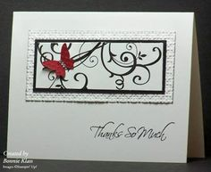 Swirly Thanks by bon2stamp - Cards and Paper Crafts at Splitcoaststampers; baroque motifs and kind and caring thoughts stamp sets; white and black cs; black ink; square lattice ef, beautiful wings embosslit, basic rhinestones
