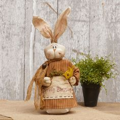 """New Primitive Folk Art SPRING BLESSING GIRL BUNNY Easter Doll Shelf Sitter 14"""" #Country"""
