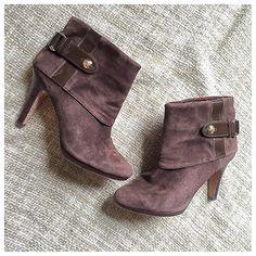 """Antonio Melani Cuffed Booties Super cute and perfect with jeans or a dress, cuff and buckle detail! 3.75"""" heel, Lester upper and sole in good used condition ANTONIO MELANI Shoes Ankle Boots & Booties"""