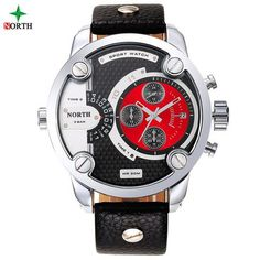 Dual Time Leather Wristwatch