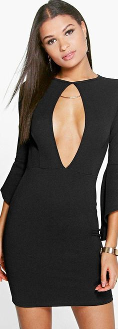Dolly Keyhole Flared Sleeve Bodycon Dress - Dresses  - Street Style, Fashion Looks And Outfit Ideas For Spring And Summer 2017