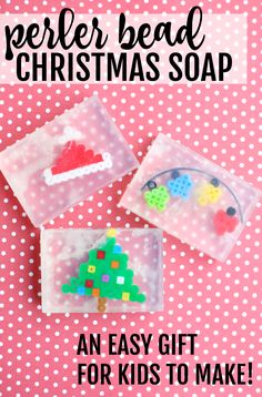 Make this Christmas Soap using your the Perler Bead Creations your child has made!  Such a fun homemade gift for kids to make teachers, grandmas, or anyone who likes to be clean.  :)