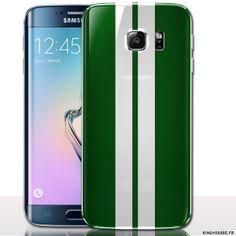 Coque pour mobile Samsung S6 Bandes vertes - Etui rigide a clipper. #Coque #hardcase #S6 #Vert #Samsung