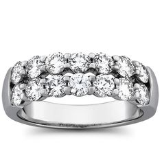 1.47 carat total weight anniversary ring features two rows of high grade round…