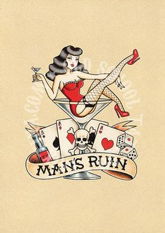T12. THE RUIN of MEN. skull woman drink cards  Flash por Retrocrix