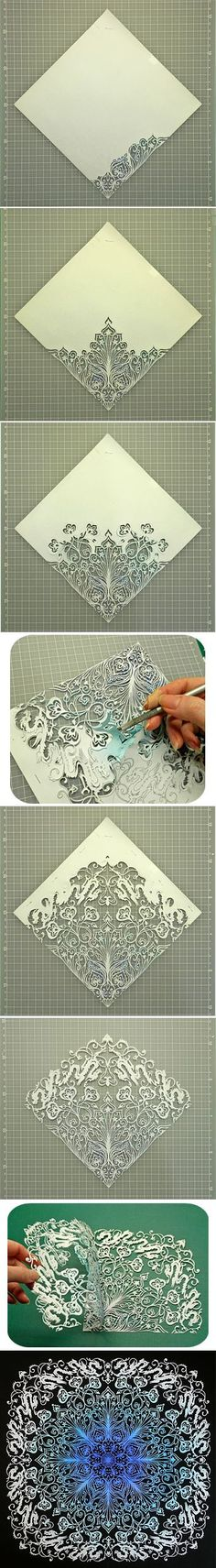 [] Japanese Kirigami Art (Cut Paper) tutorial (pictures only) by Syandery. (Link does not go to tutorial/images) Origami And Kirigami, Origami Paper, Diy Paper, Paper Quilling, Paper Cutting, Craft Robo, Diy And Crafts, Arts And Crafts, Papier Diy