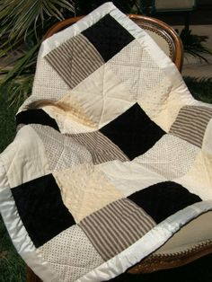 black & cream patchwork baby quilt, I would love these colors in a king size quilt.