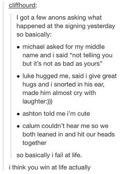 Someone's experience meeting 5SOS>>> I think you win at life actually