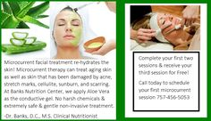 Microcurrent facial treatment improves facial & neck muscle tone, lifts jowls & eyebrows, reduces puffiness, evens out skin tone & texture, improves facial circulation, enhances the body's natural collagen & elastin production, re-hydrates skin, & tightens pores. If you would like to know more visit our website at http://banksnutrition.com/the-skin-center-at-banks-nutrition