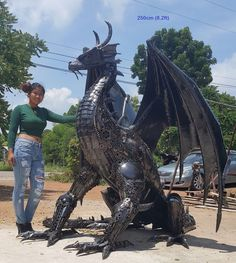 dragon statue/sculpture, life size metal animal art