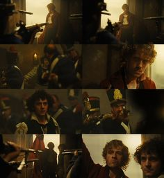 Ok, so this scene portrays Grantaire to be such a loyal friend to Enjolras (I know some of ya ship them, but I don't, so this description isn't supposed to suggest that. Enjolras and Eponine for the WIN! :) haha).  Grantaire walks into the café on his own- no soldiers are seen behind him forcing him up the stairs to his death. Instead of living, he chooses to die with his friend and actually pushes his way towards Enjolras (5th picture), his eyes never leaving the marble lover of liberty...