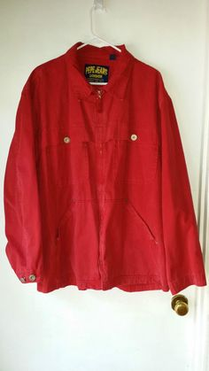 Men's Pepe Jeans London Red Jacket-Size XL-100% Cotton ZIP FRONT #PEPEJEANSLONDON #BasicJacket
