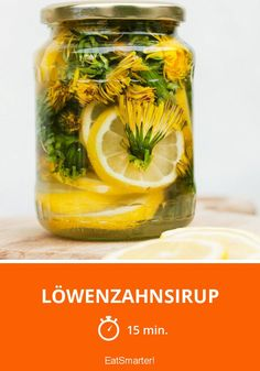 Jar of lemonade cordial made from dandelion flowers, lemons and sugar – 11202351 – Get high-quality interior design images for your projects – rights-managed and royalty-free Taraxacum Officinale, Buy Images, Interior Design Images, Dandelion Flower, Cordial, Eat Smarter, Vegan, Pickles, Cucumber