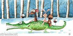 Original Watercolor Painting Folk Art Winter Mouse Crocodile Bunny Teddy Crows | eBay
