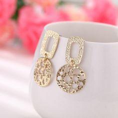 Geometric Round Dot Hollow Post Dangle Earrings Gold Drop Earrings, Dangle Earrings, Diamond Earrings, Shape Patterns, Fashion Earrings, Dangles, Women Jewelry, Vintage Fashion, Dots