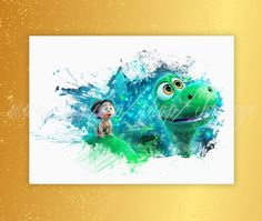 The Good Dinosaur Arlo and Spot Watercolor Print Good by TRONYC