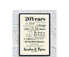 20 Year Anniversary, 20th Anniversary Gift for Parents, Grandparents, Non Traditional Gift, Meaningful, In Laws, Family Quotes by CreativePrintArt on Etsy