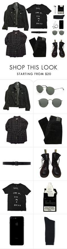 """""""Where Is My Mind?"""" by bydefault ❤ liked on Polyvore featuring American Apparel, Ray-Ban, Bonpoint, Nobody Denim, Ann Demeulemeester, Dr. Martens, Blue Blue Japan and darknecessities"""