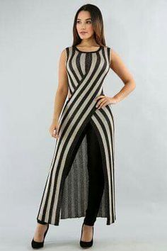 Striped Metallic Overlay Top - Young Tutorial and Ideas Latest African Fashion Dresses, Indian Fashion, Dress Outfits, Casual Dresses, Fashion Outfits, Mode Kimono, Sarah Jessica, Kurti Designs Party Wear, Indian Designer Wear