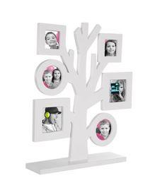 Porta fotos de sobremesa en forma de árbol, para colocar 6 fotos en diferentes formas: 2 marcos redondos y 4 marcos cuadrados. Diseñado en madera. #regalos #miscalo