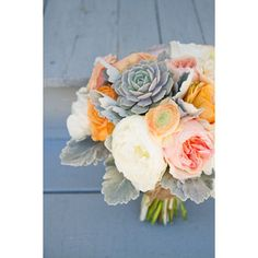 dusty miller, peony, ranunculus, antique rose, suculent