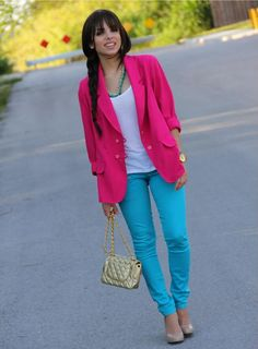 Shop this look on Kaleidoscope (blazer , necklace , top, pants , purse , shoes)  http://kalei.do/VvRaVWFfclimlwJA