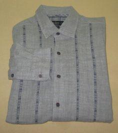 Men's NAT NAST Long Sleeve Casual Dress   Shirt Sz M Medium - Gray - FLIP CUFF #NatNast #ButtonFront