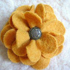 Golden Zinnia Flower Brooch Recycled Sweater Wool by FeltSewGood