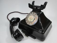 Vintage GPO Bakelite telephone in what's known Combined Set, where the Bakelite bell box is mounted underneath the 200 series telephone.