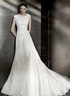 Wedding Dresses - $237.00 - A-Line/Princess Square Neckline Chapel Train Satin Lace Wedding Dress With Bow(s) (00205000474)
