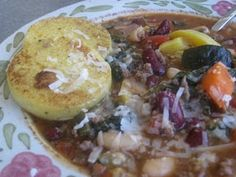 Minestrone with Crisped Polenta Rounds