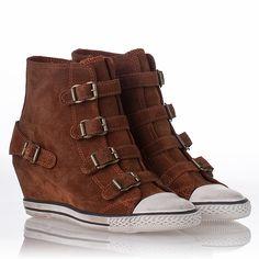 Cheap Eagle Wedge Sneaker Dark Camel Suede 312239 Fantastic | Ash Canvas Sneaker Heels