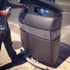 Pedal-powered bins line Toronto streets.