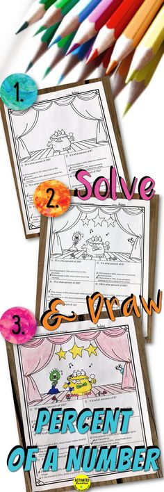 Solve and Draw no-prep printables for are an easy, no-prep way to make practice with percent calculations and percent word problems more engaging. This resource may be used as a fun quiz or review and is a perfect no-prep sub day resource. How Solve & Draw Activities Work Students solve the percent problems and add to the drawing based on their answers. Students are directed on what to draw but are able to personalize the item to their preferences and drawing styles. Drawings range from…