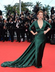Lea Seydoux wears Prada to the Saint Laurent premiere during the 67th Annual Cannes Film Festival.