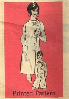 "Vintage Sewing Pattern Side Button Dress Mail Order 4586 14.5/35"" Half Size"