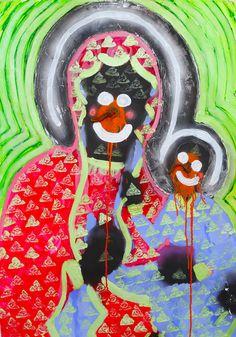 Maksymilian Biel - Black Madonna, acrylic on paper, 100 x 70 cm