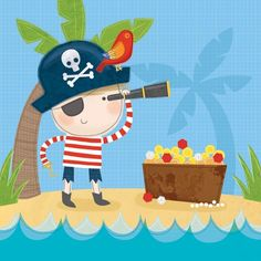 Sarah Ward Illustration - sarah ward, sarah, ward, novelty, picture book, digital, young, sweet, commercial, educational, activity, people, pirates, children, boys, greetings cards