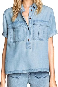 not-so-classic shirt--- in Chambray, flapped, pleated patch pockets with Double  Needle Topstitching and a placket that doesn't open all the way... classic collar....pullover classic shirt. Lots of fun detail stop draw! LV YOU CAN SKETCH THIS!