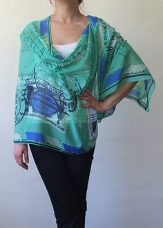 Spring Scarf Summer Scarf Green Patterned Scarf by designscope