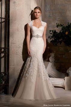 Mori Lee by Madeline Gardner Fall 2015 Wedding Dresses   embroidered trumpet mermaid sheath queen anne neckline diamante beading style 2719