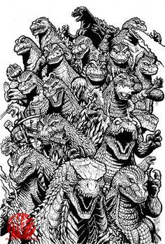 Godzilla over the years, art