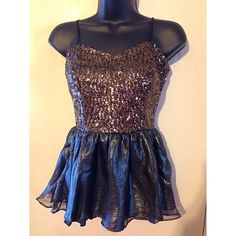 Festive SEQUIN Top  Spaghetti strap beautiful blouse! PERFECT FOR THE HOLIDAYS!! Upper part is sequins and bottom has a chiffon feel. Reasonable offers accepted! NOT EXPRESS, posted under brand for visibility.  Express Tops Blouses