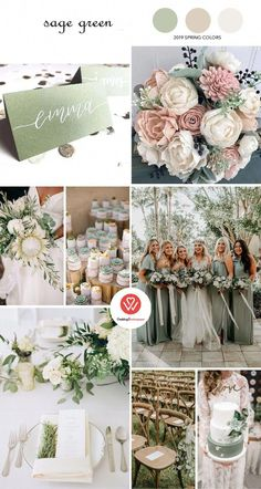 Stealing 8 Amazing Wedding Color Combinations in Spring 2019 - Sage Green, Spring Wedding . 8 Amazing Wedding Color Combos to Steal in Spring green, spring weddi. 8 Amazing Wedding Color Combos to Steal in Spring green, spring weddi Green Spring Wedding, Sage Green Wedding, Spring Wedding Flowers, Wedding Color Combinations, Wedding Color Schemes, Color Combos, Wedding Decorations, Wedding Ideas, Green Wedding Centerpieces