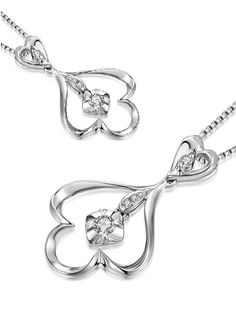 ON SALE: For US$349 only || http://www.amazon.com/dp/B00DH82M76 || Gorgeous diamond pendant! Younger and stylist. 18K White Gold Shaped in Flower Underneath Diamond makes it look much larger than it actual diamond weight.