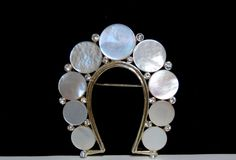 Vintage Sought After Lisner Signed Mother of Pearl Rhinestone Horseshoe Brooch #Lisner #SoughtAfterLuckyHorseshoeBrooch