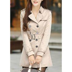 Elegant Turn-Down Collar Double-Breasted Belt Epaulet Embellished Long Sleeves Trench Coat For Women
