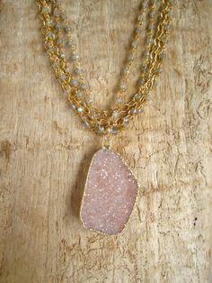 Large Druzy Necklace Drusy Quartz Labradorite by julianneblumlo, $235.00