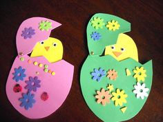 Interesting New Born Chicks Easter Craft Theme Idea for Kids with Yellow Paper Chicks Craft and Pink and Green Eggs Craft with Colorful Floral Motif